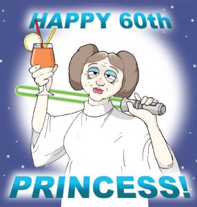 TW215 - Age 60 Funny Card Princess Leia